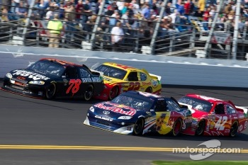 Regan Smith, Furniture Row Racing Chevrolet, Kasey Kahne, Red Bull Racing Team Toyota, Kurt Busch, Penske Racing Dodge and Juan Pablo Montoya, Earnhardt Ganassi Racing Chevrolet