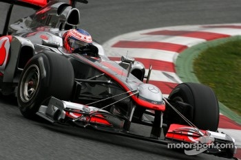 Jenson Button, McLaren Mercedes using a test front wing