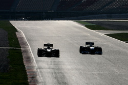 Vitaly Petrov, Lotus Renault F1 Team and Adrian Sutil, Force India