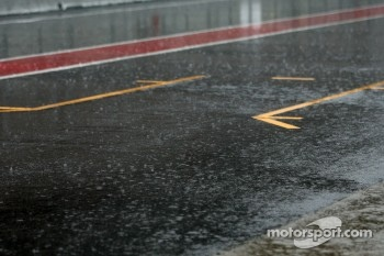 Heavy rain hits circuit de Catalunya for the last day of testing, pitlane