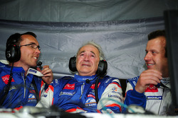 Oreca technical director David Floury, team manager Hugues de Chaunac, and Olivier Panis celebrate victory