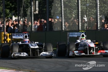 Rubens Barrichello, Williams F1 Team and Sergio Perez, Sauber F1 Team