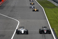 Felipe Massa, Williams FW38 and Fernando Alonso, McLaren MP4-31