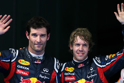 Pole winner Sebastian Vettel, Red Bull Racing, third place Mark Webber, Red Bull Racing