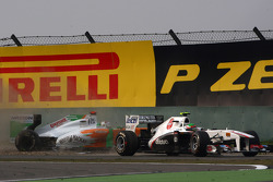 Sergio Perez, Sauber F1 Team and Adrian Sutil, Force India