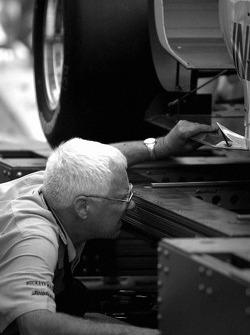 Tech inspection for Forsythe Racing car