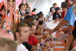 Drivers and fans at autograph session