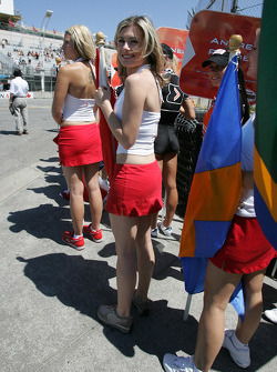 Grid girls ready for pre-race ceremony