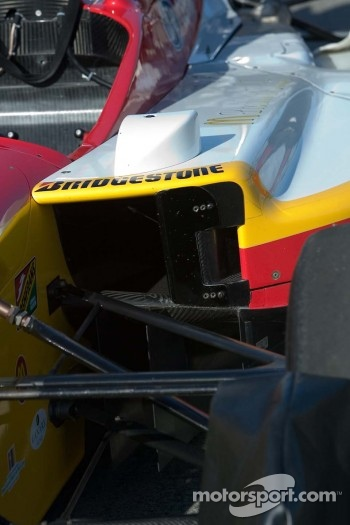 Detail of Champ Car sidepod and rear-view mirror