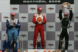 Podium: race winner Sébastien Bourdais with Paul Tracy and Nelson Philippe
