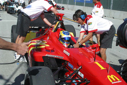 Sébastien Bourdais pulls in after winning the provisional pole