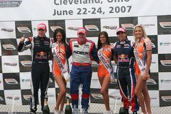 Victory circle: race winner Paul Tracy, second place Robert Doornbos, third place Neel Jani