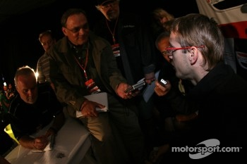 Sbastien Bourdais talks with the media
