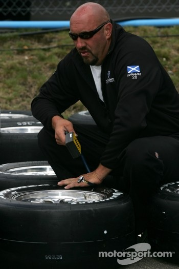 Pacific Coast Motorsports crew member at work