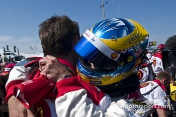 Polesitter Sbastien Bourdais celebrates