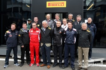 Marco Tronchetti Provera President of Pirelli, with the team bosses