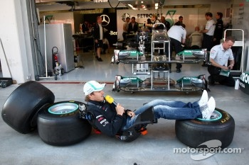 Nico Rosberg, Mercedes GP F1 Team, does a piece to camera