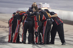 Furniture Row Racing Chevrolet crew members celebrate the victory of Regan Smith