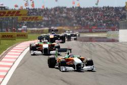 Adrian Sutil, Force India F1 Team leads Paul di Resta, Force India F1 Team