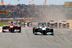 Nico Rosberg, Mercedes GP F1 Team, MGP W02 leads Fernando Alonso, Scuderia Ferrari, F150