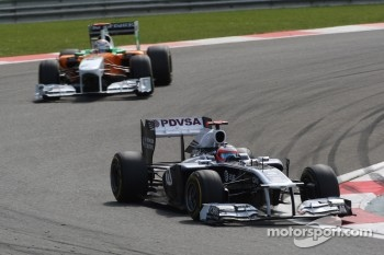 Rubens Barrichello, AT&T Williams, FW33 leads Adrian Sutil, Force India F1 Team, VJM-04
