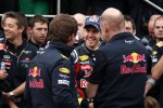Red Bull team celebration, Christian Horner, Red Bull Racing, Sporting Director, Sebastian Vettel, Red Bull Racing, Adrian Newey, Red Bull Racing, Technical Operations Director