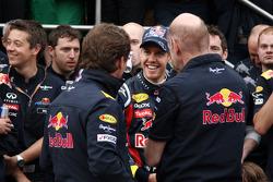 Red Bull team celebration, Christian Horner, Red Bull Racing, Sporting Director, Sebastian Vettel, Red Bull Racing, Adrian Newey, Red Bull Racing, Technical Operations Director