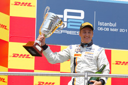 Stefano Coletti celebrates his victory on the podium