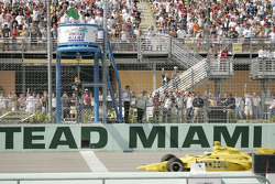 Green flag: Tomas Scheckter takes the lead