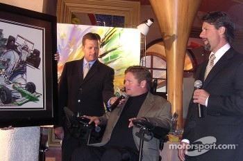 6th Annual Sam Schmidt Paralysis Foundation fundrasing gala: Dave Calabro, Sam Schmidt and Michael Andretti