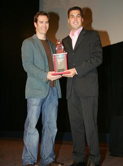 Sam Hornish Jr. accepts third place trophy