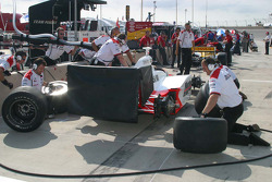Team Penske practices pit stops