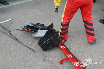 A pile of parts from Jaques Lazier's damaged car