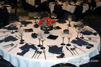 Banquet table setting in Jerry's Garage