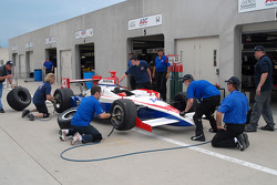 Pit stop practice for Larry Foyt's crew