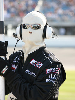 Team Penske crew member waits for a pitstop