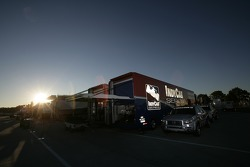 IndyCar Series transporter in the morning light
