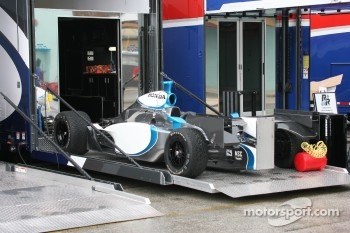 Vision Racing car unloaded from the transporter