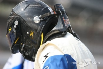 HANS device attached to the driver's helmet