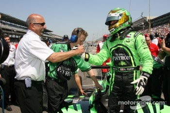 Scott Sharp is congratulated by Bobby Rahal