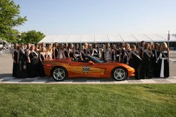 All of the 500 Festival Princess candidates posing with the Official Pace car of the 91st Indianapolis 500