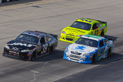 Ryan Newman, Stewart-Haas Racing Chevrolet, Denny Hamlin, Joe Gibbs Racing Toyota and Paul Menard, Richard Childress Racing Chevrolet