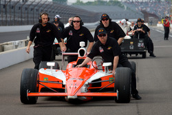 Car of Buddy Rice, Panther Racing pushed to the qualifying line