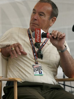 Former Indy 500 driver Steve Chassey speaks to fellow drivers during a question and answer period at the Indianapolis Motor Speedway on Bump Day