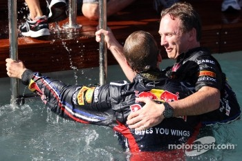 Sebastian Vettel, Red Bull Racing and Christian Horner, Red Bull Racing, Sporting Director in the pool
