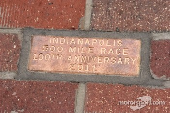 100th Anniversary Brick at the start-finish line