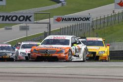 Ralf Schumacher, Team HWA AMG Mercedes C-Klasse, Mike Rockenfeller, Audi Sport Team Abt Sportsline Audi A4 DTM