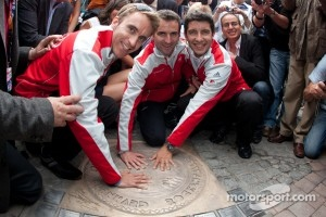 Hand imprint ceremony: 2010 24 Hours of Le Mans winners Timo Bernhard, Romain Dumas and Mike Rockenfeller