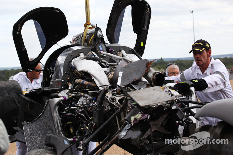 The #3 Audi Sport North America Audi R18 TDI after the crash of Allan McNish