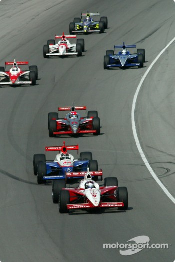 Jeff Ward leading a group of cars